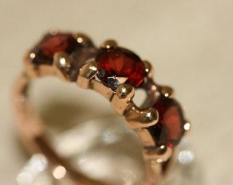 Garnet Ring ,Vintage Ring, Solid Gold Ring, Gold Ring, Handmade Garnet Ring, 14k Rose Gold Ring, Red Stone Ring, Birthstone Ring