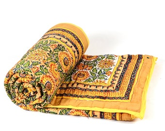 Single Bed Hand Block Printed Yellow Color Queen Size Quilt in Floral Design Size 60x90 Inch