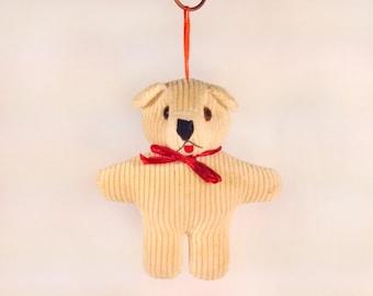 80s Corduroy Teddy Bear Vintage Chirstmas Tree Ornament - Light Brown