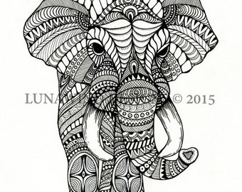 Hand Drawn Pen and Ink Elephant Illustration Hand Signed Print