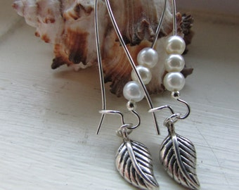 Leaf earrings , silver plated earrings, kidney wire earrings , dangle earrings