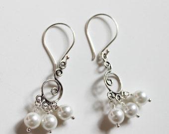 Bali antique sterling silver chandelier fresh water pearl earrings