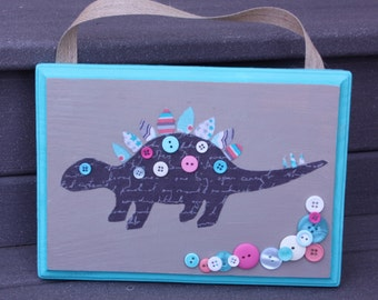 Cute as a Button Dinosaur Wall Art, Child Wall Decor
