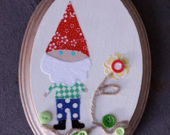Garden Gnome and Daisy Wall Art