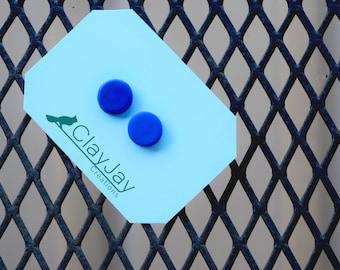 Large blue polymer earrings