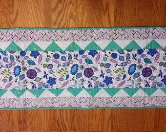 Spring blue, purple, aqua, white table runner