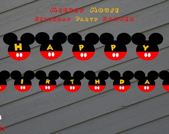 Mickey Mouse Banner / Mickey Mouse Birthday Banner  /Mickey Birthday Bunting - Red, Black and Yellow Printable