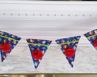 Blue and Red Birthday cake cupcake Party Banner for birthdays, celebrations