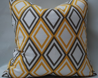 Yellow and Brown Geometric Throw Pillow