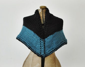 Black-Blue Knit Shawl