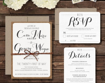 Rustic Wedding Invitation with RSVP and Detail Cards - QUICK DELIVERY - Organic, Barn, Farm, Simple, Elegant Style, Set of 10