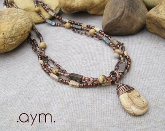 SALE picture jasper stone teardrop beaded necklace, brown tan rustic multistrand earthy fall tones bead necklace, free shipping gift for her
