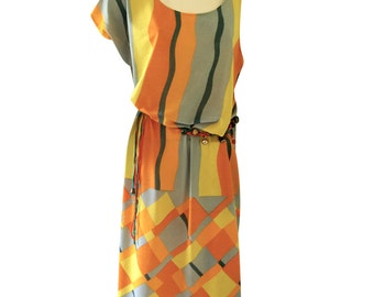 Geometric Orange, Blue and Yellow Off The Shoulder Kaftan Style Loose Fit Dress with Abstract Rope Belt