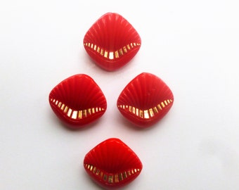 Vintage glass buttons, set of four, red glass buttons with gold painted edging