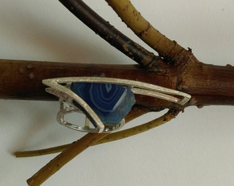 Ring with blue agate