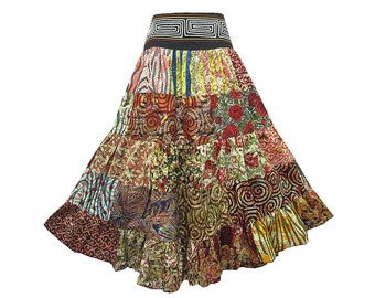 Boho Hippie Cotton Patchwork 5-Tier Broomstick Skirt  (M0678P)