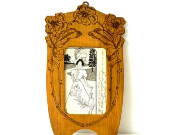 Antique Photo Frame - Art Nouveau Frame - Wooden Picture Frame - Antique Picture Frame - Floral Frame