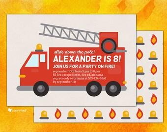 Firetruck Birthday Party Invitation - birthday party, invitation, fire, truck, extinguisher, hose, water, firetruck, alarm, firefighter