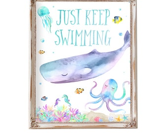 Just Keep Swimming Quote, Kids Bathroom Art, Under The Sea Party Decorations, Bathroom Decor, Ocean Party Decorations,  Whale, Octopus, Sea