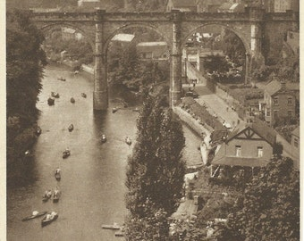 """Original Vintage Greeting Card,""""The River From The Castle, Knaresborough"""" Post Card, Birthday Card, Vintage Photo Card, Antique Picture H"""