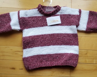 Sweater of Burgundy Tweed & White (Size 2 - 3)