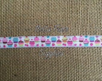 Cupcake Fold Over Elastic- Birthday FOE- Wholesale FOE- DIY Headband- Fold Over Elastic-