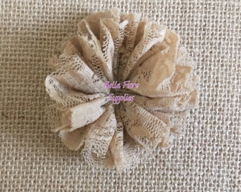 Tan Lace Ballerina Flowers, Lace Flowers- 3 inch, Wholesale, DIY, Lace Headband