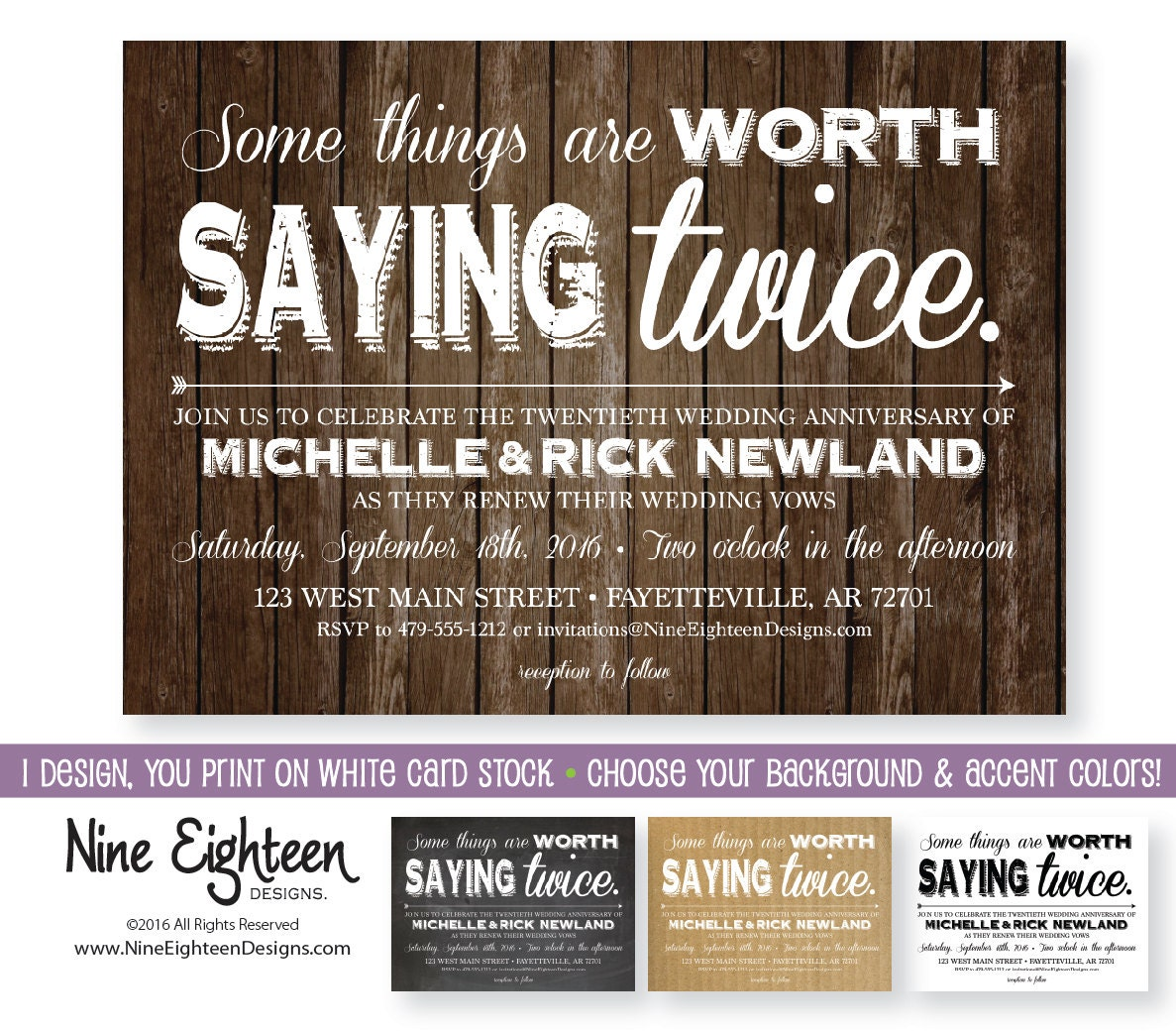 Wedding Vow Renewal Invitations: Vow Renewal Invitation. PDF & JPG By NineEighteenWeddings