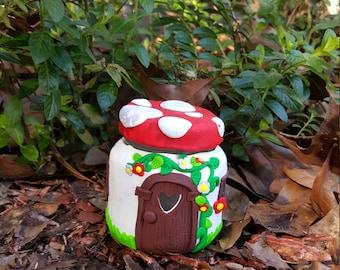 Polymer clay Fairy house jar