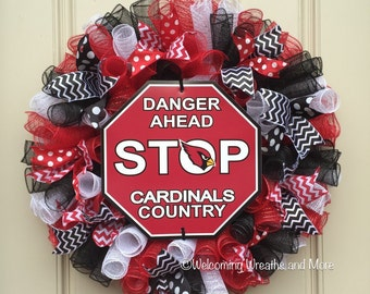 Arizona Cardinals Wreath, Arizona Cardinals Deco Mesh Wreath, AZ Cardinals Mesh Wreath, Cardinals Wreath