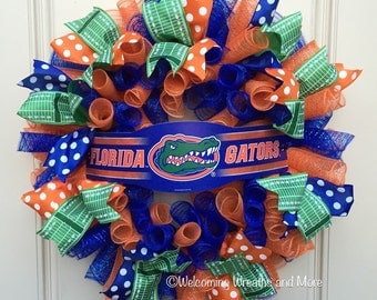 Florida Gators Wreath, University of Florida Wreath, Florida Gators Mesh Wreath, Gator Nation Decor