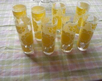 Set Of Eight (8) Vintage Colony Yellow Flower Retro Ice Tea Glasses