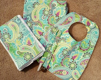 Paisley 4pc Recieving Blanket Set, contains: blanket, burp cloth, bib, pacifier clip