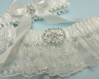 Your beautiful wedding garter set,  White wedding garter set