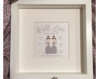 Wedding Gift Frame - With Love - Mrs & Mrs - Personalised