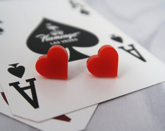 Red Heart Stud Earrings, Playing cards suits. Rockabilly. Vegas Casino Collection. Retro, Pin Up jewellery