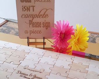 Wedding Puzzle Guestbook alternative, wooden, rustic, engagement, 60 pcs