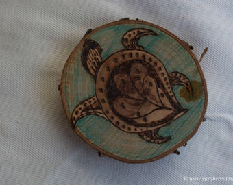Pyrography wood slice:turtle design