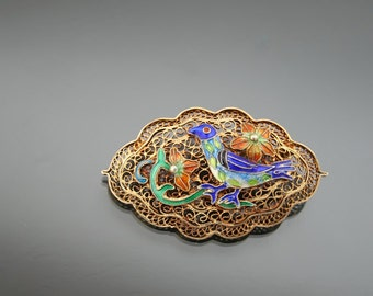 Chinese Export Enameled Bird Brooch. Silver 925 Sterling Filigree Vermeil.