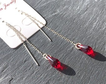 Chain Silver 925/000 with siam red Swarovski Crystal drop earrings
