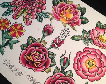 Rose Tattoo Flash Print