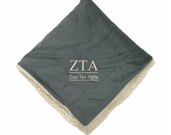 Zeta Tau Alpha Micro Sherpa Throw,Zeta Tau Alpha Blanket, Zeta sorority blanket, Sorority Blanket, Greek Blanket, Zeta house throw