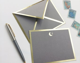 Moon Gray Card with Gold Foil Bordered Envelope