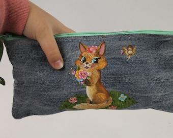 Pencil case. Makeup pouch. Denim pouch. Denim bag. Cosmetic bag. Bag.