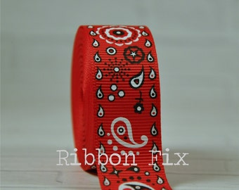 "2 yards 7/8"" Red Bandana Print Grosgrain Ribbon - US Designer Print - Bandanna - Paisley - Kerchief - Cowgirl - Rodeo - Horse - Flowers"