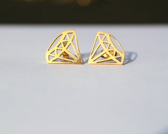 Gold Diamond Studs - 24 carat Gold Plated Solid Silver