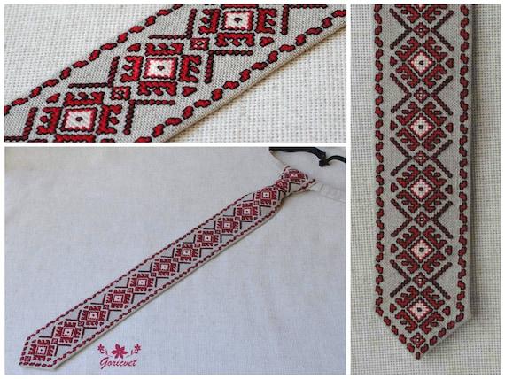 Linen Wedding Anniversary Gift Ideas: Red Black Tie Linen Necktie Gift For Men Embroidered By