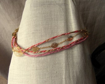 Old pink and Golden bracelet