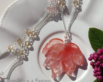 Leaf necklace natural stone - Collection fall 2015 Once Upon a Fantasy