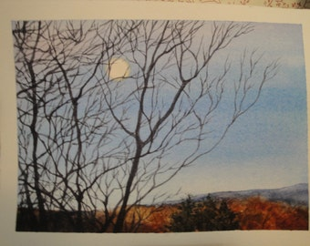 Moon Setting watercolor giclee print, Autumn in Pennsylvania. bare trees